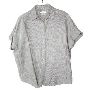 Rag & Bone Striped Button Front Short Sleeve Shirt